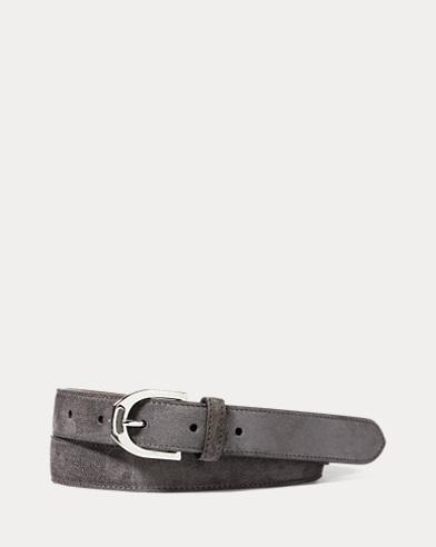 Stirrup-Buckle Suede Belt