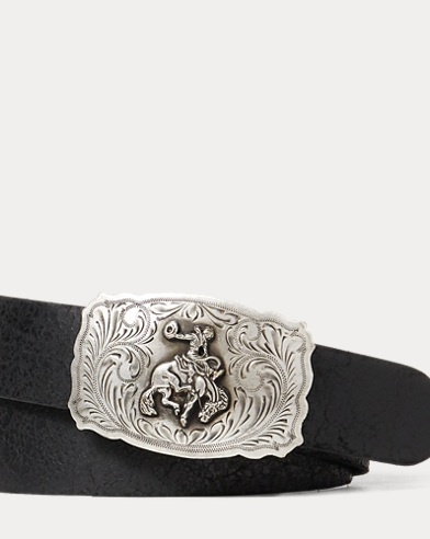 Bronco-Buckle Leather Belt
