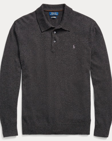 Washable Cashmere Polo Sweater