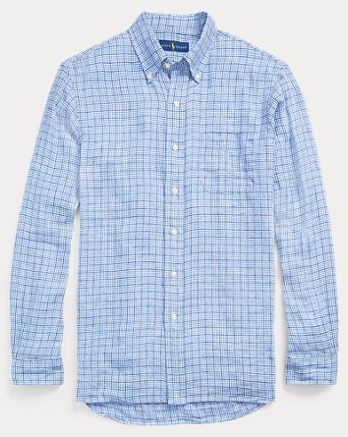 Classic Fit Plaid Linen Shirt