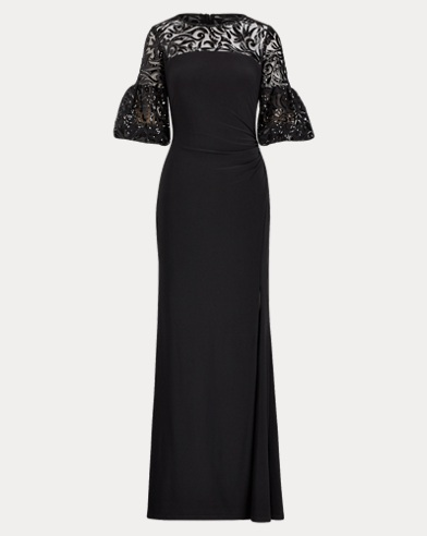 Floral Sequined Jersey Gown