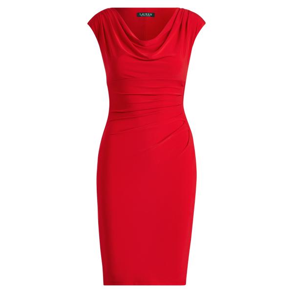 Ralph Lauren Stretch Jersey Cowlneck Dress Parlor Red 6