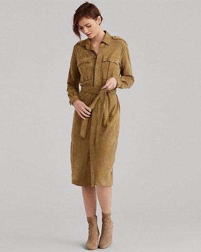 Belted Suede Shirtdress