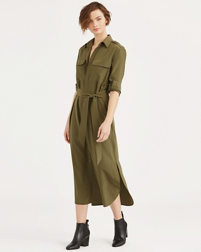 Silk Crepe de Chine Shirtdress