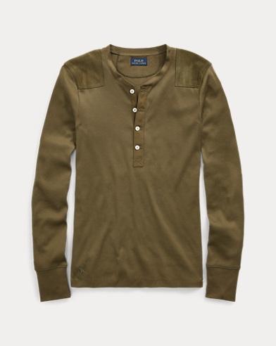 Suede-Trim Henley Shirt