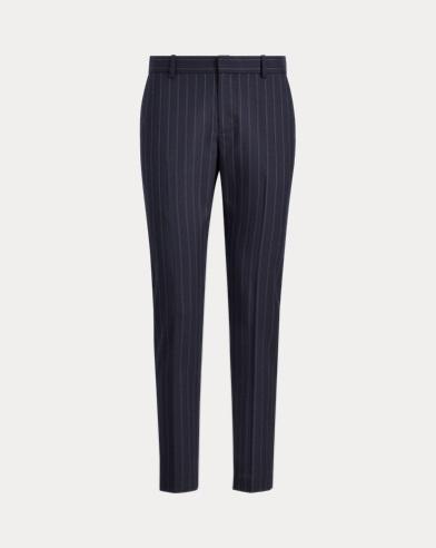 Pantaloni dritti gessati in lana