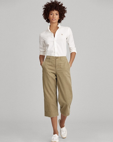 Cropped Wide-Leg Chino Pant