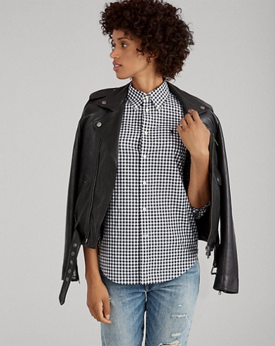 Camicia vichy in popeline Slim-Fit
