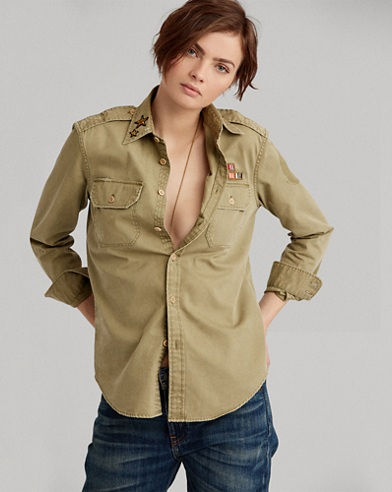 Cotton Chino Military Shirt