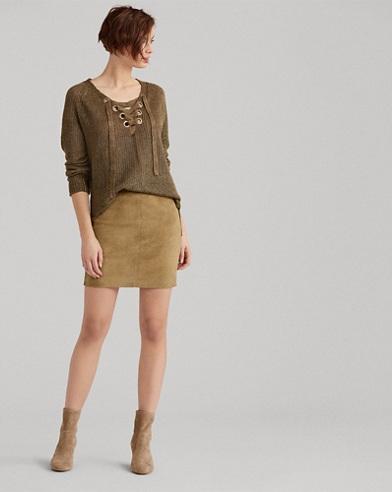 Stretch Suede Miniskirt
