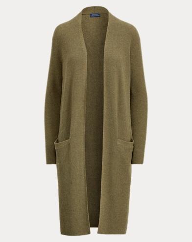 Wool-Blend Open-Front Cardigan