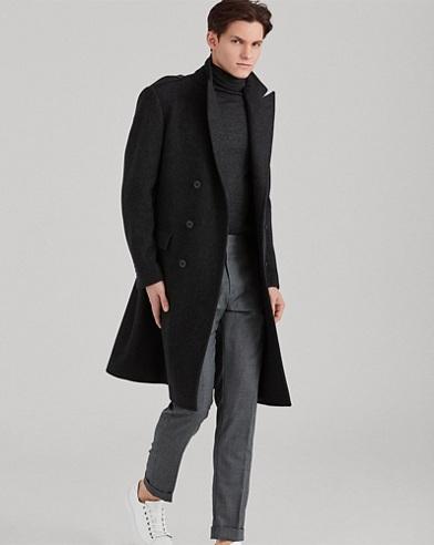 Wool-Blend Herringbone Coat