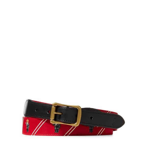 Ralph Lauren Polo Bear-Overlay Webbed Belt Red/Black 34