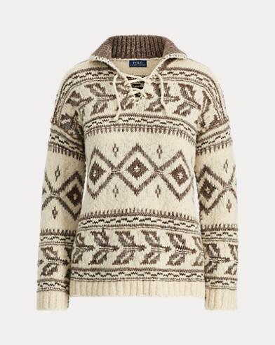 Geometric Lace-Up Sweater