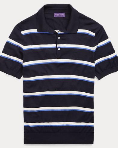 Striped Merino Polo Sweater
