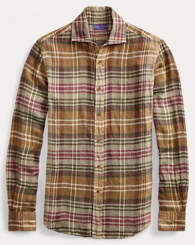 Plaid Linen Twill Shirt