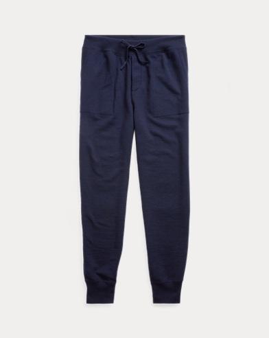 Suede-Trim Wool-Blend Pant