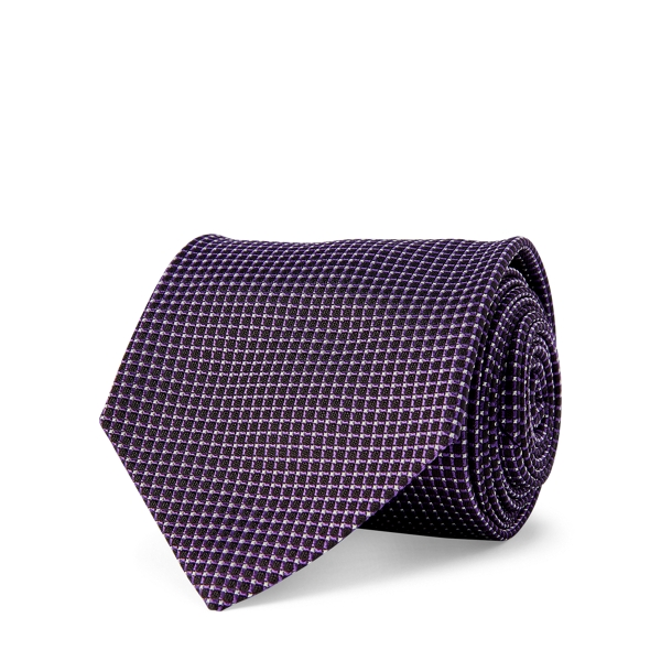 Ralph Lauren Grid Silk Jacquard Tie Navy/Purple One Size