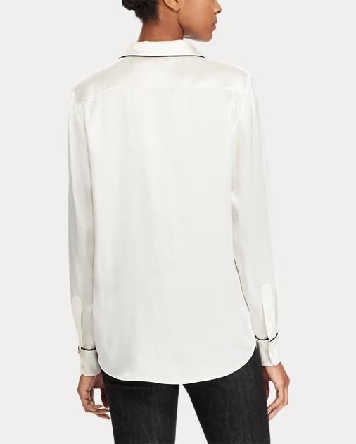 38eee28245 Silk Charmeuse Pajama Shirt
