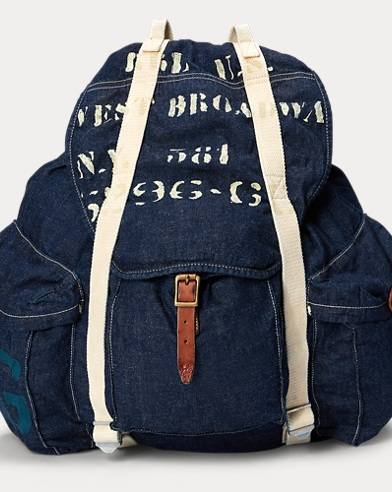 Stenciled Denim Backpack