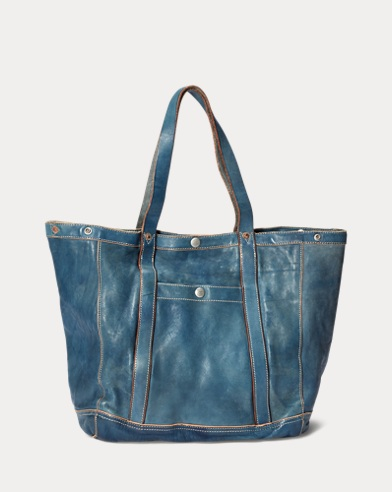 72d41700d9 Indigo-Dyed Leather Tote
