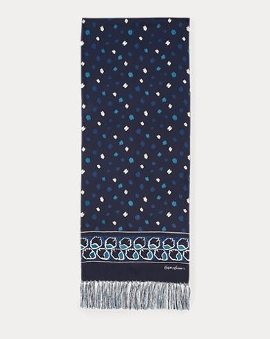 Brushstroke-Print Silk Scarf