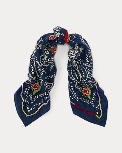 Dragon-Embroidered Bandanna