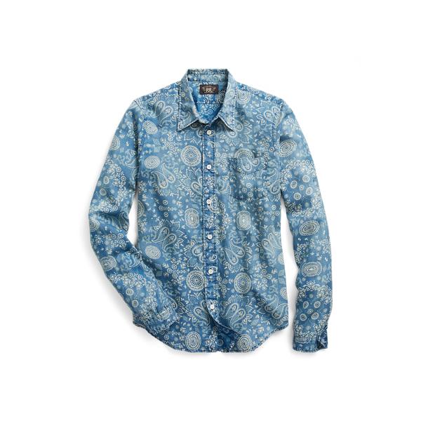 Ralph Lauren Indigo Cotton Sateen Workshirt Rl 969 Indigo Cream 1