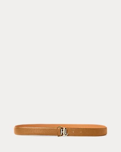 Pebbled Leather Skinny Belt