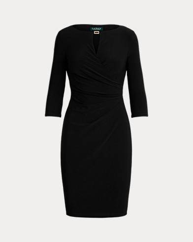 Ruched Keyhole Jersey Dress