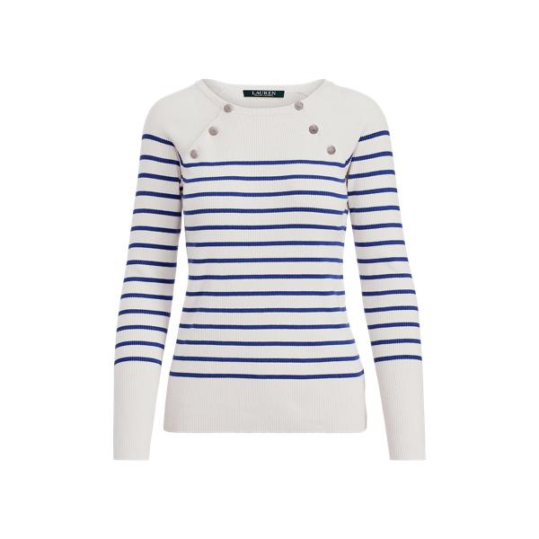 Ralph Lauren Button-Shoulder Cotton Sweater Cream/Empress Blue Xl