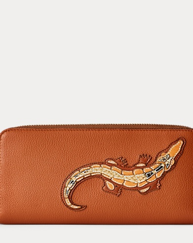 Crocodile Calf Zip Wallet