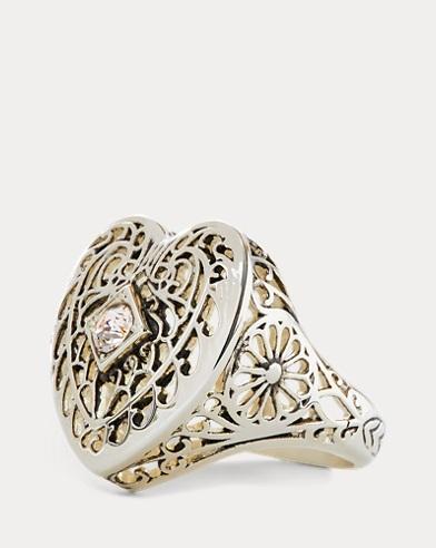 Brass Filigree Heart Ring