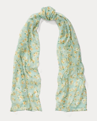 Floral Crinkled Silk Scarf