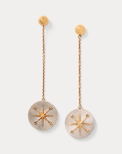 Star Brass Drop Earrings