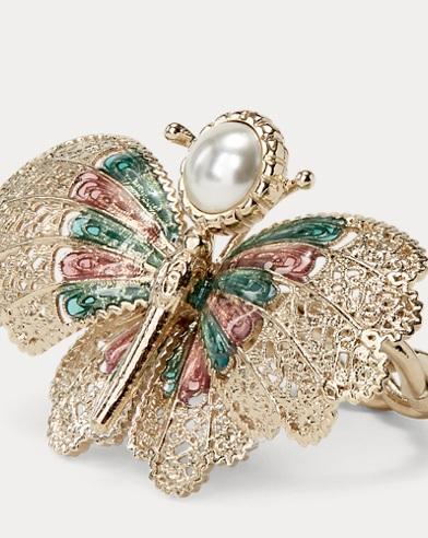 Brass-Enamel Butterfly Ring