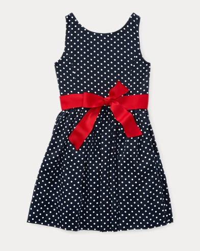 Dotted Twill Button-Back Dress