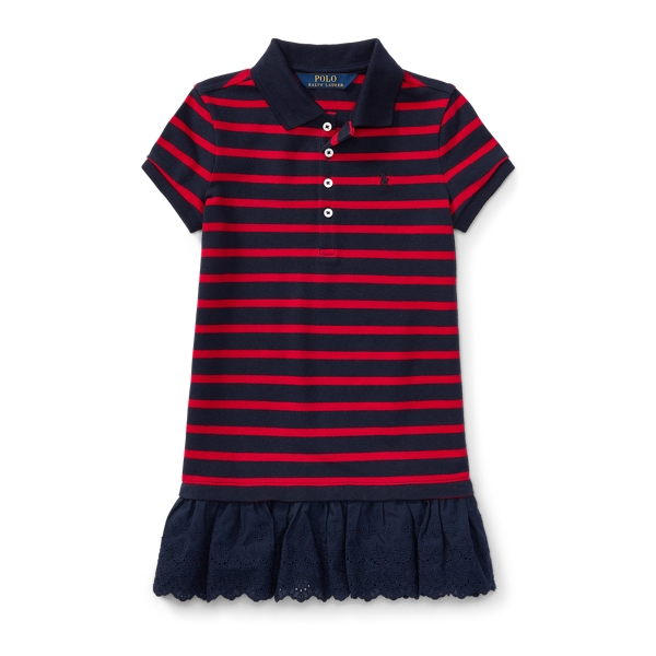 Ralph Lauren Eyelet-Hem Striped Polo Dress Hunter Navy/Rl2000 Red 2T
