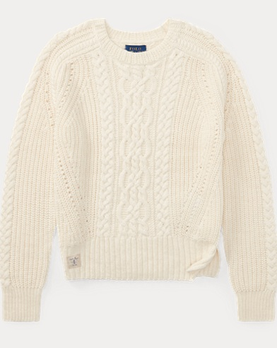 Aran-Knit Cotton-Blend Sweater
