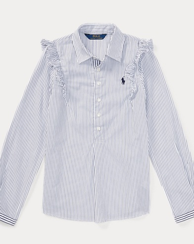 Striped Ruffled Cotton Popover