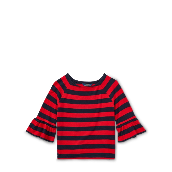 Ralph Lauren Striped Ruffle-Sleeve Top Hunter Navy/Rl2000 Red Xl