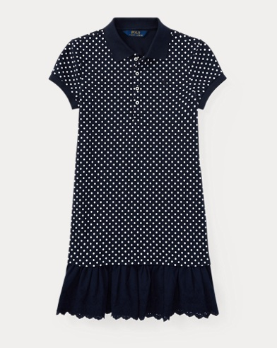 Eyelet-Hem Dot Mesh Polo Dress