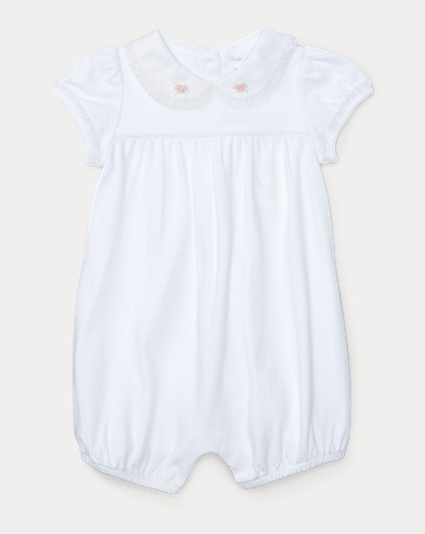 Lace-Trimmed Cotton Shortall