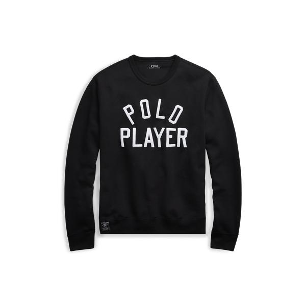 Ralph Lauren Double-Knit Graphic Sweatshirt Polo Black M