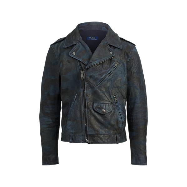 Ralph Lauren Camo Leather Biker Jacket Indigo Camo Xs