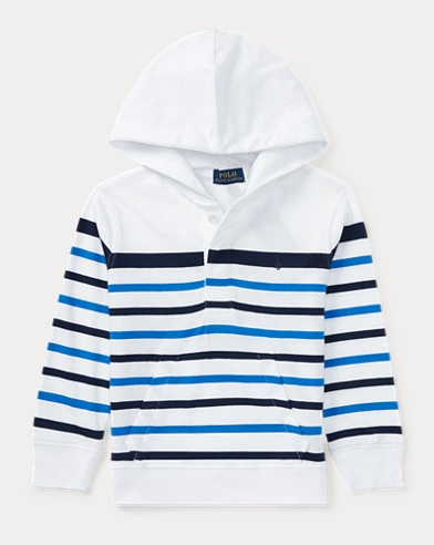 Striped Cotton Jersey Hoodie