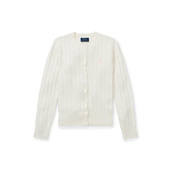 폴로 랄프로렌 걸즈 미니 꽈배기 코튼 가디건 411539 Polo Ralph Lauren Mini Cable Cotton Cardigan,Warm White