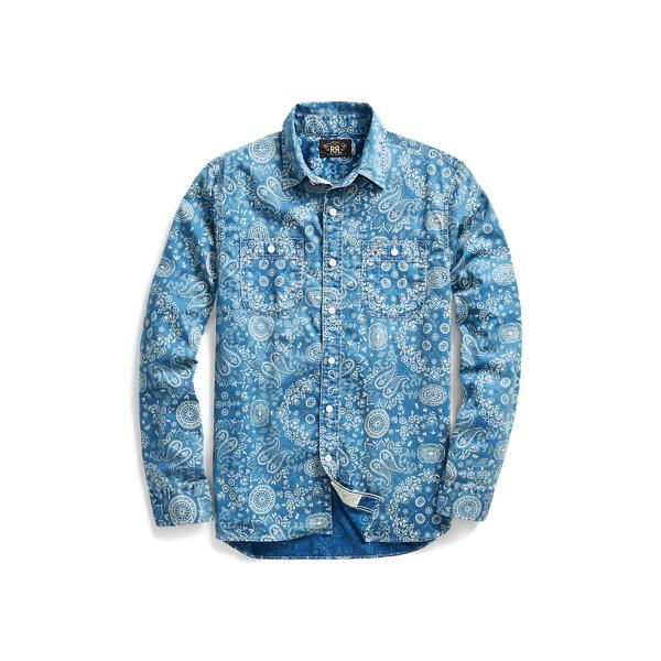 Ralph Lauren Indigo Cotton Sateen Workshirt Rl 969 Indigo Cream L