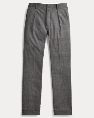 Slim Plaid Wool Suit Trouser