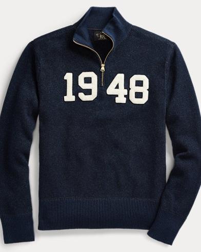 Indigo Cotton Half-Zip Sweater
